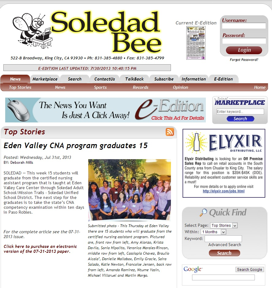 Soledad Bee Article